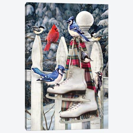 Birds On Fence With Skates Canvas Print #GRC8} by Greg & Company Canvas Print