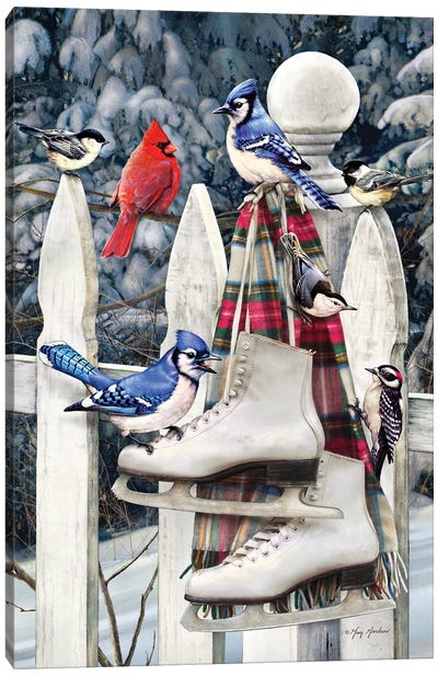 Birds On Fence With Skates Canvas Art Print