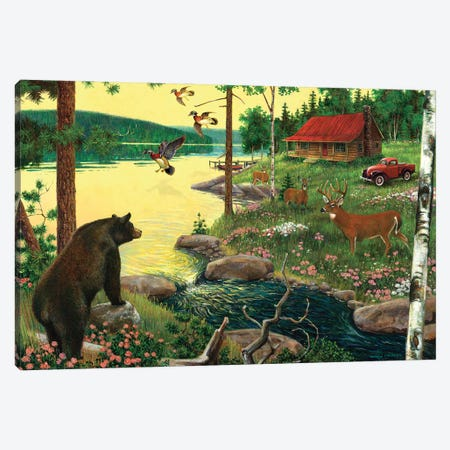 Cabin In The Woods Canvas Print #GRC90} by J. Charles Canvas Print