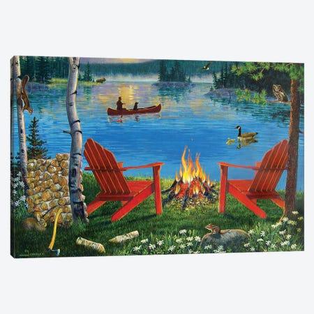 Adirondack Chairs At Lake Canvas Print #GRC91} by J. Charles Art Print