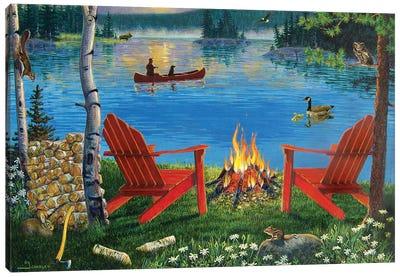 Adirondack Chairs At Lake Canvas Art Print
