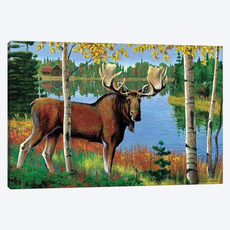Moose At Lake Canvas Print #GRC92} by J. Charles Canvas Art Print