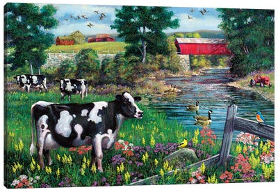 Cows And Covered Bridge Canvas Art Print