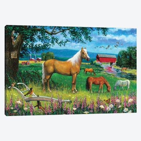 Horses In Field Canvas Print #GRC94} by J. Charles Canvas Wall Art