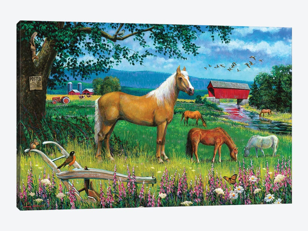 Horses In Field by J. Charles 1-piece Canvas Wall Art