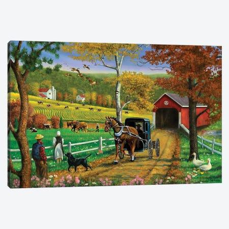 Farm And Covered Bridge Canvas Print #GRC96} by J. Charles Canvas Wall Art