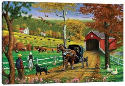 Farm And Covered Bridge Canvas Art Print