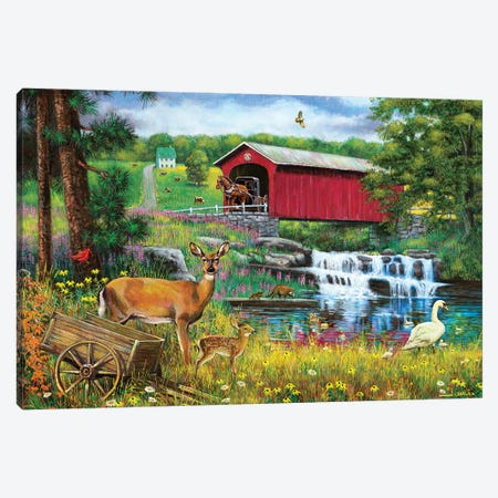 Waterfall And Covered Bridge Canvas Print #GRC97} by J. Charles Canvas Wall Art