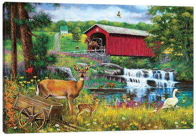 Waterfall And Covered Bridge Canvas Art Print