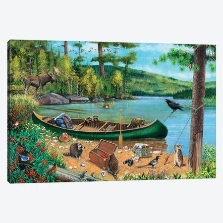 Green Canoe At Lake Canvas Print #GRC98} by J. Charles Art Print