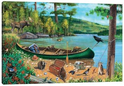 Green Canoe At Lake Canvas Art Print
