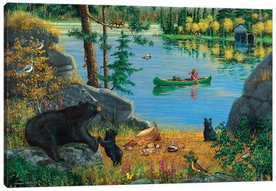Bear Family At Lake Canvas Art Print