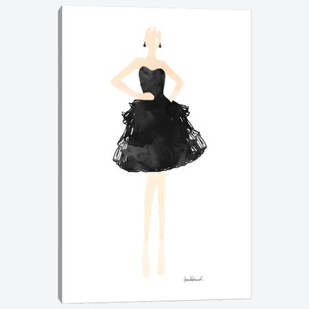 Fashion Illustration Model in Black Dress Canvas Print #GRE100} by Amanda Greenwood Canvas Wall Art