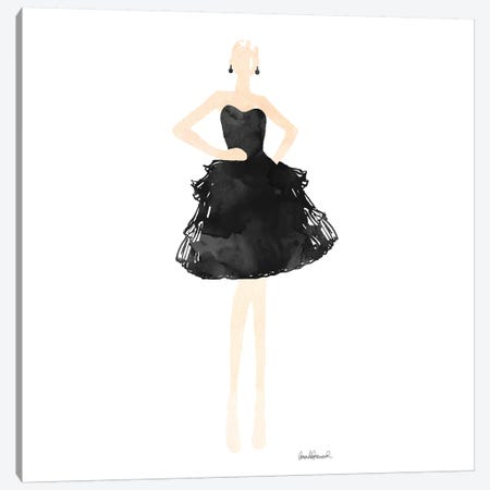 Fashion Illustration Model In Black Dress, Square Canvas Print #GRE101} by Amanda Greenwood Canvas Wall Art