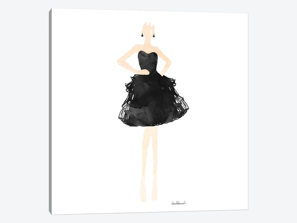 Fashion Illustration Model In Black Dress, Square by Amanda Greenwood 1-piece Art Print
