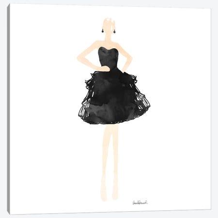Fashion Illustration Model In Black Dress, Square Canvas Print #GRE101} by Amanda Greenwood Canvas Wall Art