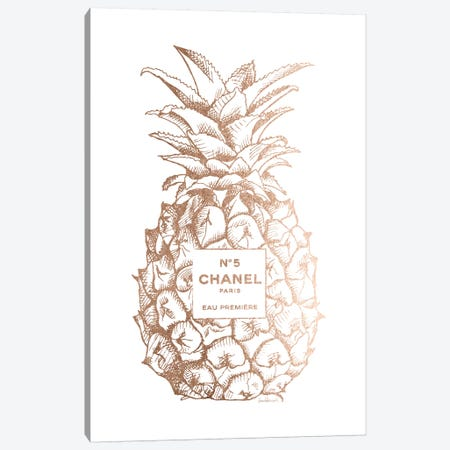 Fashion Pineapple Champ Gold Canvas Print #GRE102} by Amanda Greenwood Canvas Art