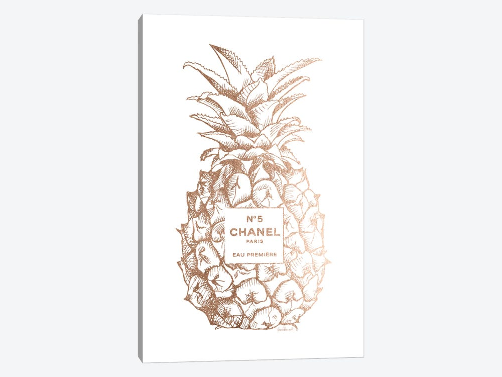 Fashion Pineapple Champ Gold 1-piece Canvas Wall Art