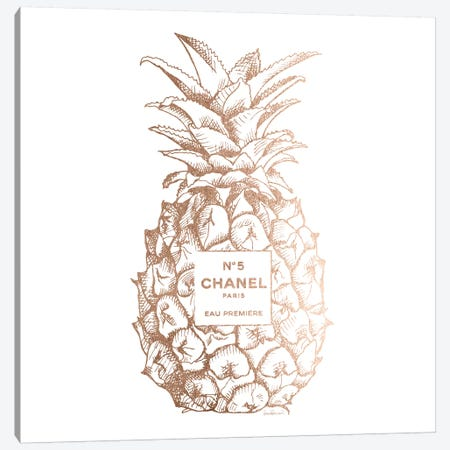Fashion Pineapple Champ Gold, Square Canvas Print #GRE103} by Amanda Greenwood Canvas Artwork