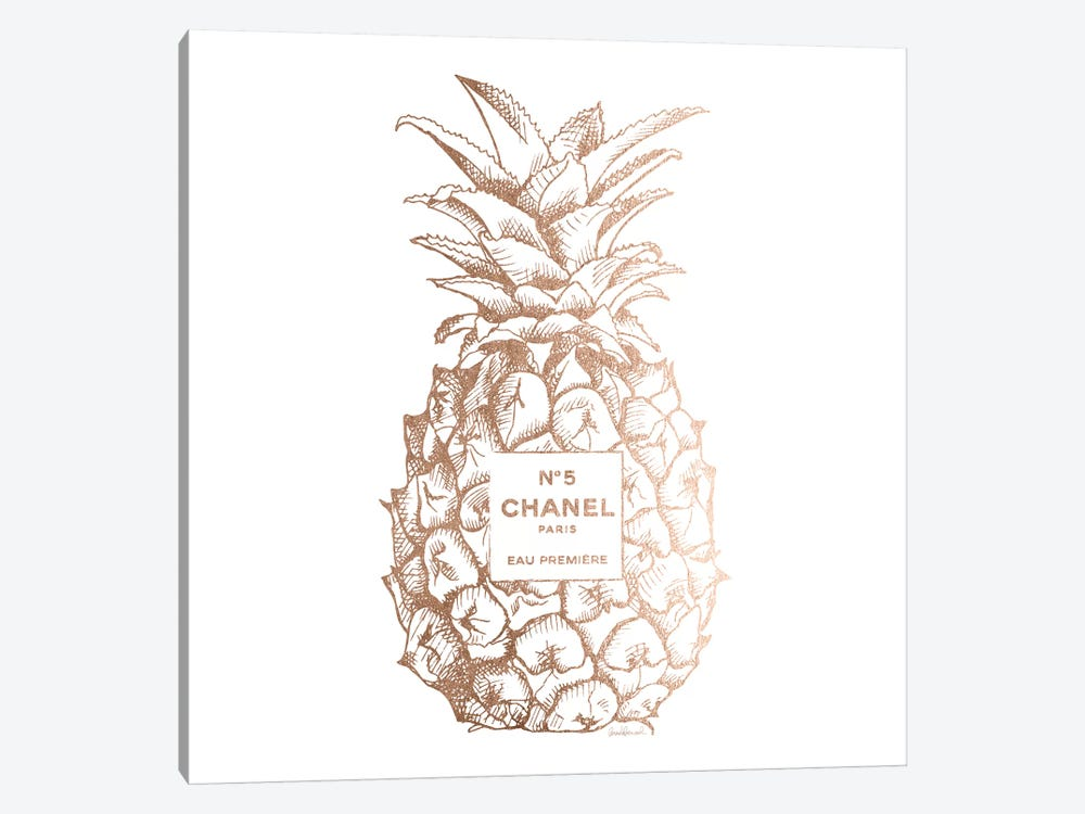 Fashion Pineapple Champ Gold, Square by Amanda Greenwood 1-piece Art Print