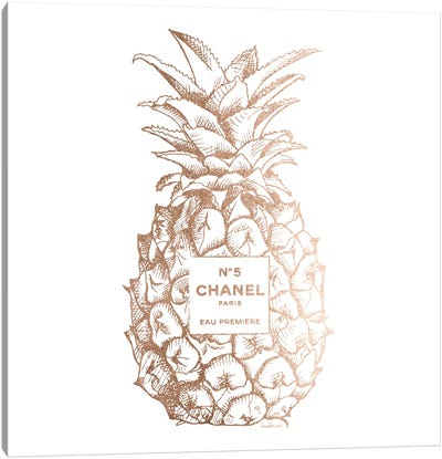 Fashion Pineapple Champ Gold, Square Canvas Art Print