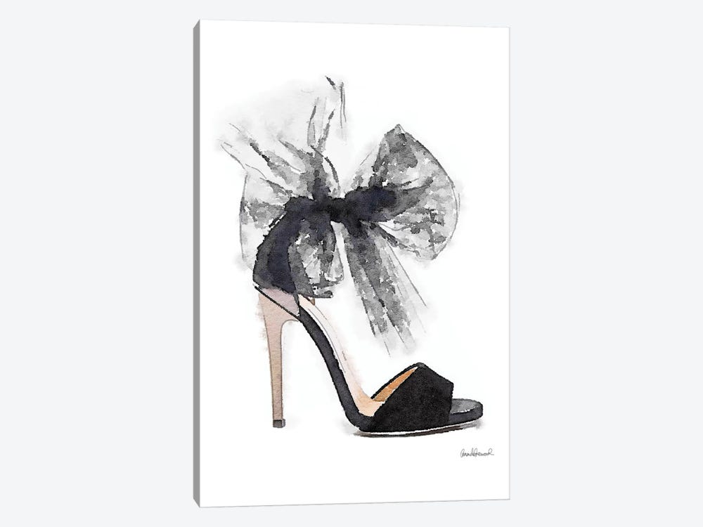 Fashion Shoe In Black Sheer by Amanda Greenwood 1-piece Canvas Artwork