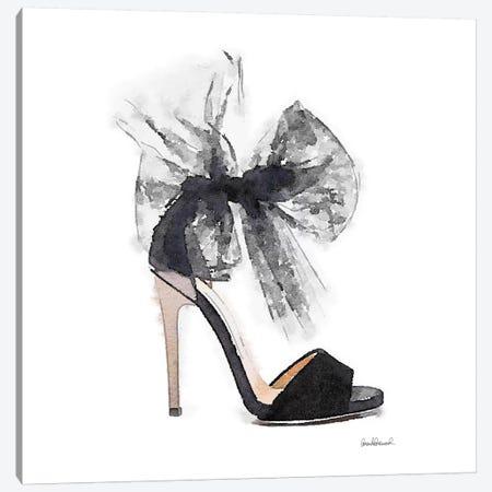 Fashion Shoe In Black Sheer, Square Canvas Print #GRE105} by Amanda Greenwood Art Print