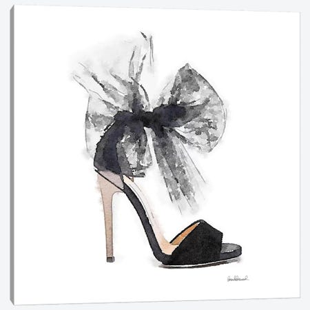 Fashion Shoe In Black Sheer, Square Canvas Print #GRE105} by Amanda Greenwood Art Print