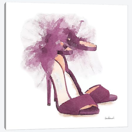 Fashion Shoe In Mauve Sheer, Square Canvas Print #GRE107} by Amanda Greenwood Canvas Art Print