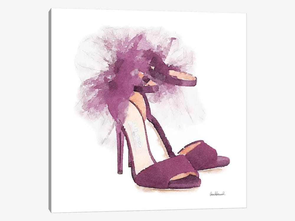 Fashion Shoe In Mauve Sheer, Square by Amanda Greenwood 1-piece Canvas Print