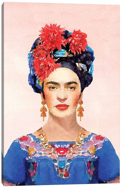 Frida Navy Canvas Art Print