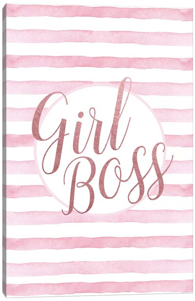 Girl Boss Rose Gold Pink Canvas Art Print