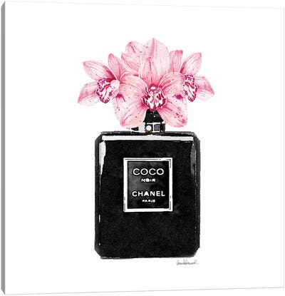 Coco Noir Perfume With Pink Orchids Canvas Art Print