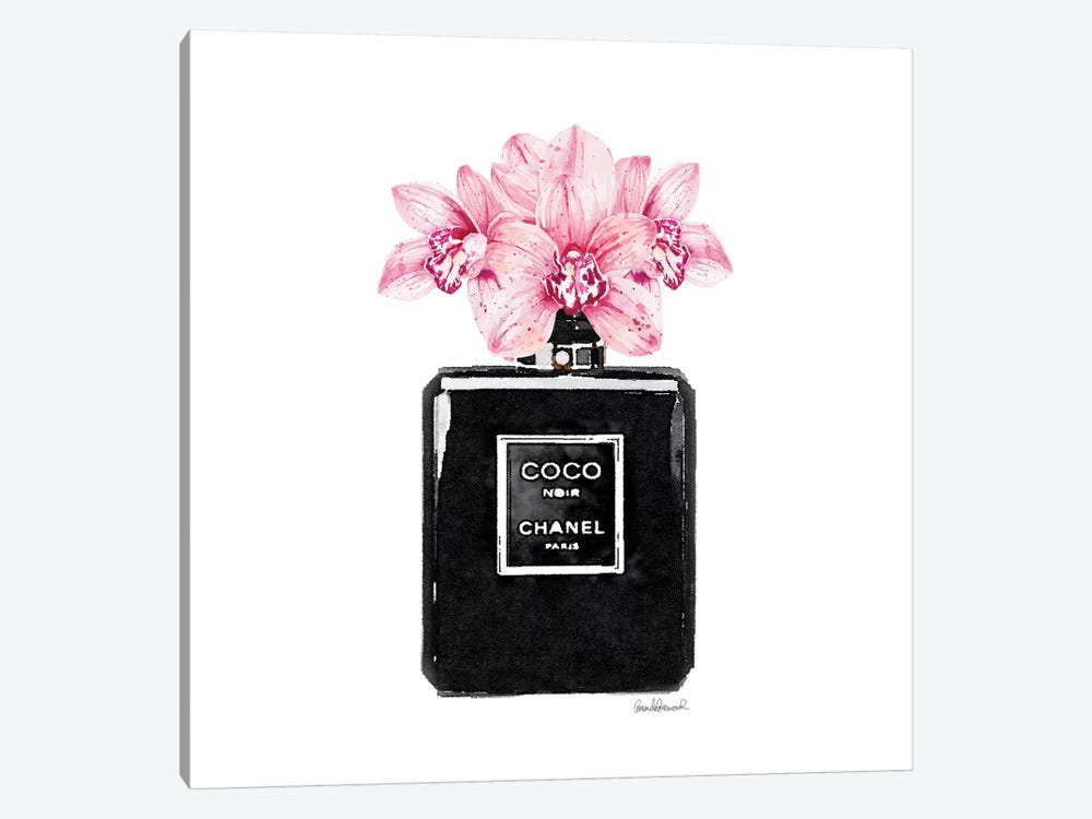 Coco Noir Perfume With Pink Orchids by Amanda Greenwood 1-piece Canvas Wall Art