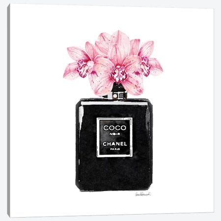 Coco Noir Perfume With Pink Orchids Canvas Print #GRE10} by Amanda Greenwood Canvas Print