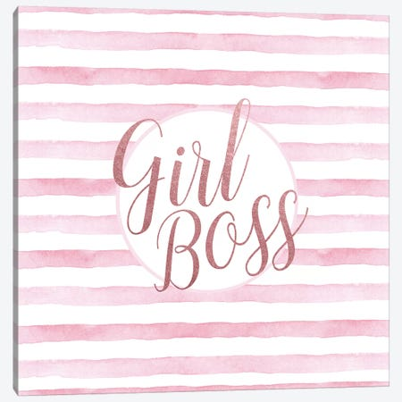 Girl Boss Rose Gold Pink, Square Canvas Print #GRE110} by Amanda Greenwood Art Print
