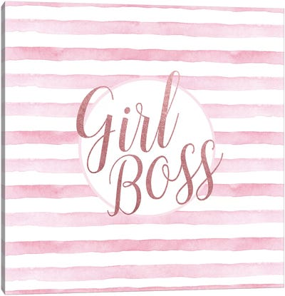 Girl Boss Rose Gold Pink, Square Canvas Art Print