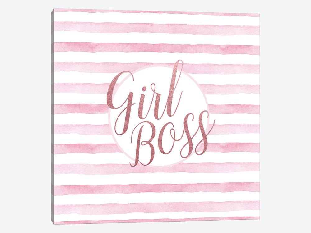 Girl Boss Rose Gold Pink, Square by Amanda Greenwood 1-piece Canvas Print
