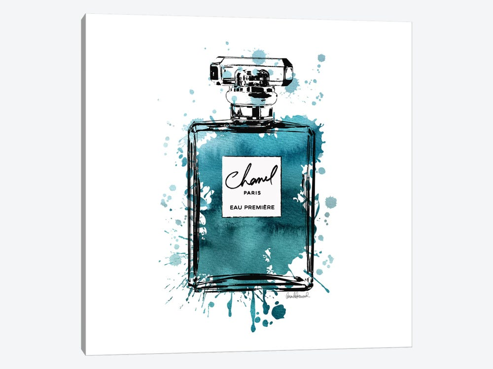 Inky Perfume Bottle Teal Black, Square by Amanda Greenwood 1-piece Canvas Wall Art