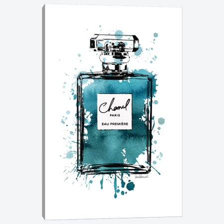 Inky Perfume Bottle Teal Black Canvas Print #GRE114} by Amanda Greenwood Canvas Artwork