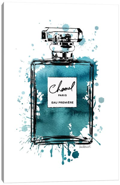 Inky Perfume Bottle Teal Black Canvas Art Print