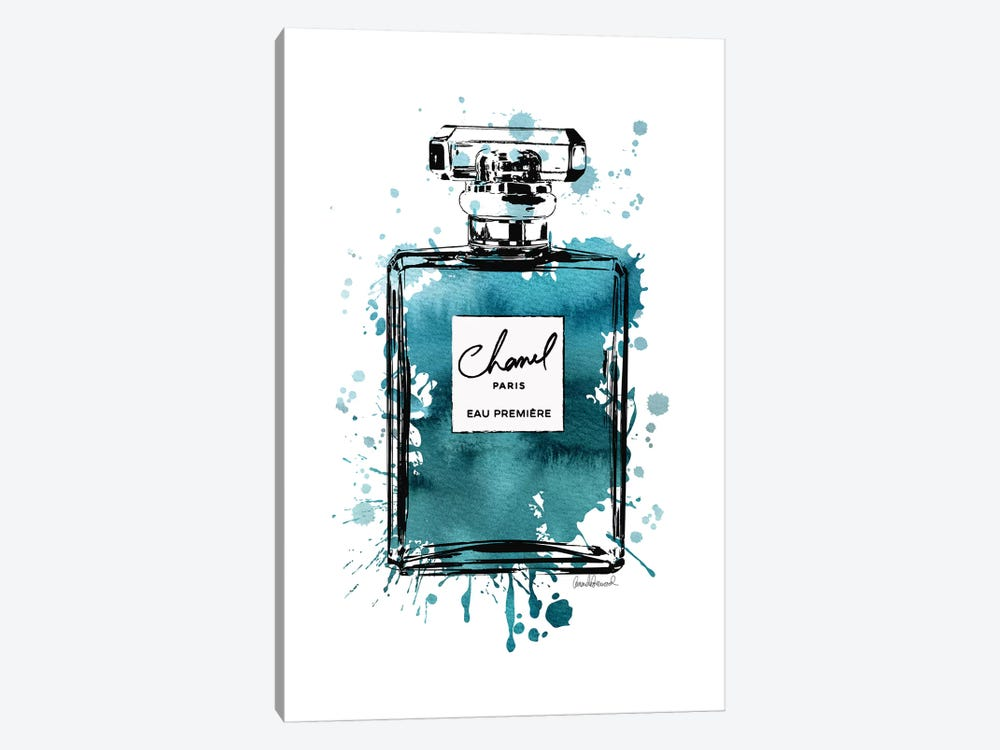 Inky Perfume Bottle Teal Black 1-piece Canvas Art Print