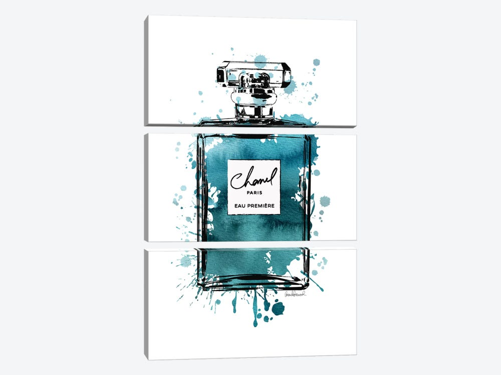 Inky Perfume Bottle Teal Black by Amanda Greenwood 3-piece Canvas Print