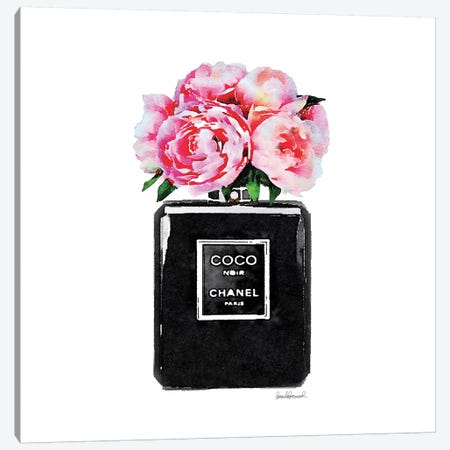 Coco Noir Perfume With Pink Peonies Canvas Print #GRE11} Canvas Print