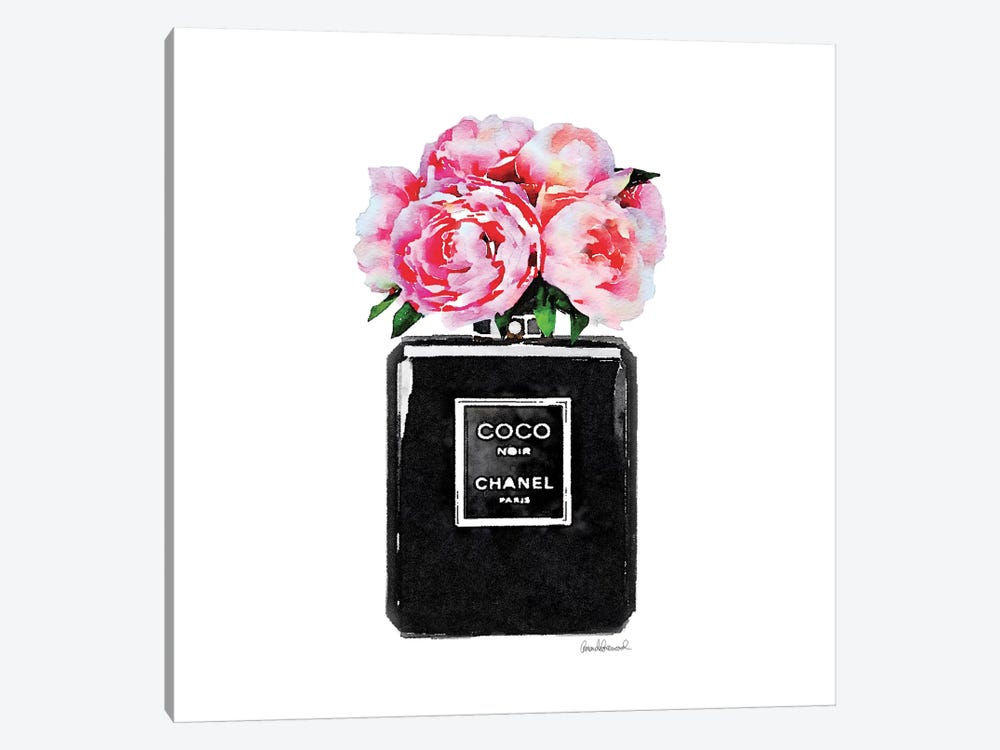 Coco Noir Perfume With Pink Peonies by Amanda Greenwood 1-piece Art Print