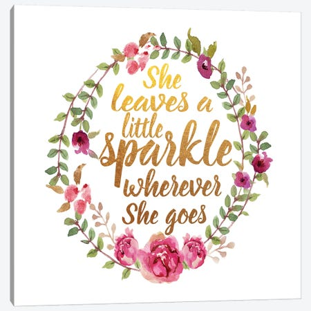 She Leaves Sparkle, Square Canvas Print #GRE128} by Amanda Greenwood Canvas Artwork