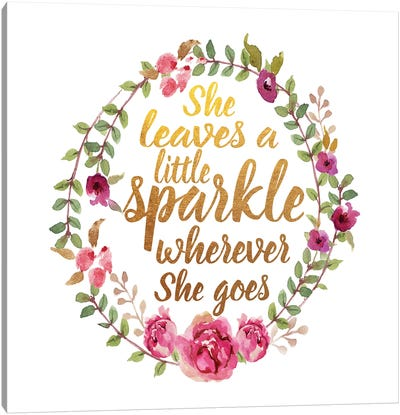 She Leaves Sparkle, Square Canvas Art Print