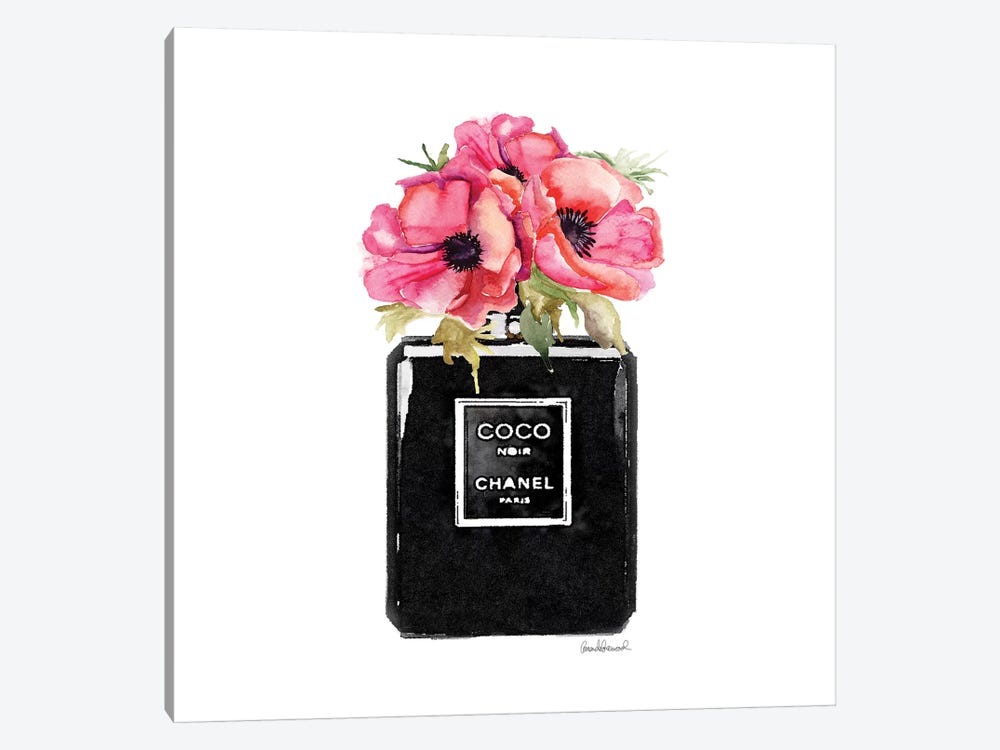 Coco Noir Perfume With Red Poppies by Amanda Greenwood 1-piece Canvas Artwork