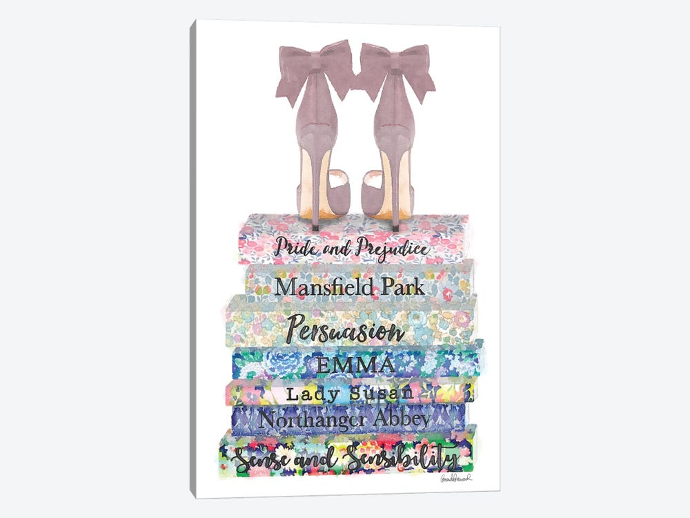 Austen Flower Books With Shoes by Amanda Greenwood 1-piece Art Print