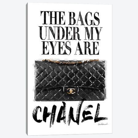 Bags Under My Eyes Black Bag Canvas Print #GRE134} by Amanda Greenwood Canvas Artwork